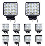 Aoklea 10X 48W 16 LEDs IP67 Flutlicht LED Arbeitsscheinwerfer Außenstrahler Offroad Lampe Zusatzscheinwerfer für Jeep SUV 10-24V