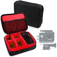 Borsa Professionale Nera Con Interno Rosso Per Action Camera QUMOX SJ4000 / SJ5000 / PHONECT ELE Explorer/ CkeyiN / CkeyiN &#174 – Imbottita – Con Scompartimenti Regolabili - DURAGADGET