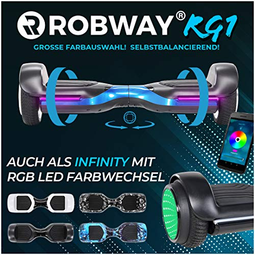 Robway Rg1 Hoverboard - Das Original - Self e Balance - 2 x 350 Watt Motoren - Led 16 Mio Farben - Bluetooth - App - Lithium Akku (Schwarz/Blau)