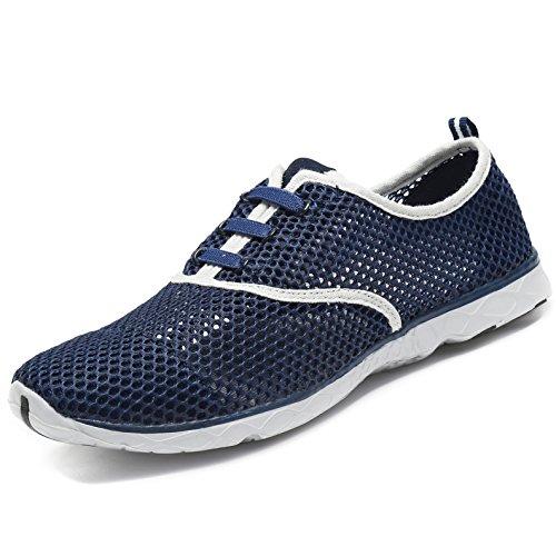 SAGUARO Badeschuhe Wasserschuhe Atmungsaktives Mesh-oberfläche Lace Up Schuhe Schnell Trocknender Aquaschuhe für Damen Herren, Marine Blau 42