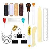 Siumir Encuadernación Herramientas Set Kit de Herramientas de Encuadernación de Libros 28 pcs incluir Agujas de Ojo Grande Enhebrador de Agujas Hilo Encerado