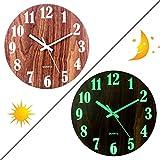 Forweilai 30CM Wanduhr Vintage - Glow-in-the-Dark - Holz Wanduhr Ohne Tickgeräusche für Wohnzimmer, Küche, Esszimmer, Büro und Schlafzimmer - (C Stil)