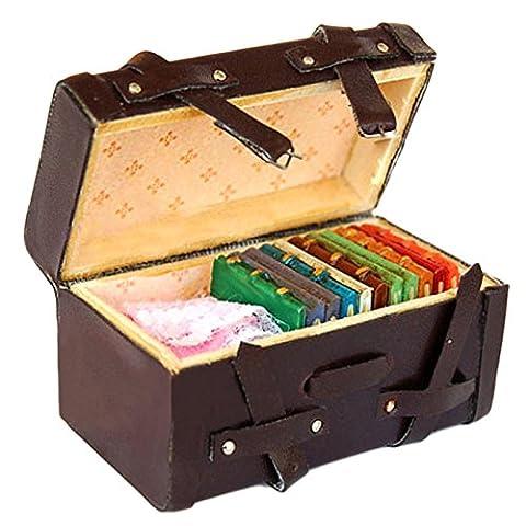 Oshide 1/12 Dollhouse miniature portant millésime valise bagages de bois en cuir, Brown