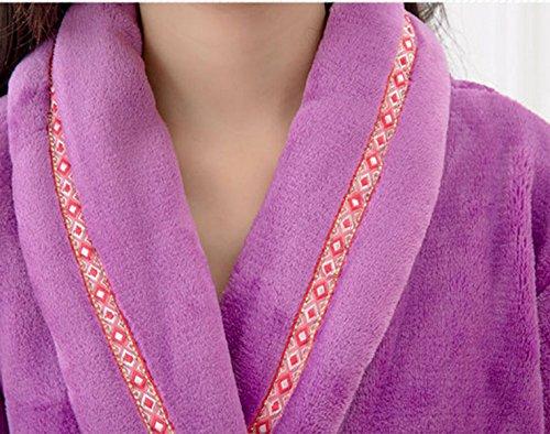 QPALZM Hiver Flanelle épaisse Chemise De Nuit Simple Section Longue purple