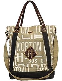 Priti Luxury Design Handbag Tote Bag Travel Bag In Washed Canvas Leather - B0791FFWKD