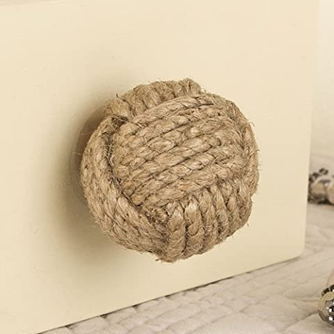 Set of Six Round Natural Jute Drawer Handles - Ideal For Updating Existing Furniture - ⌀4cm