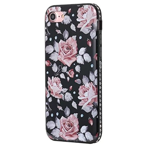 Housse pour Apple iPhone 7, Coque Pour IPhone 7 Flower imprimé Pattern Soft Black TPU Cover Case pour Apple iPhone 7 ( Color : C ) E