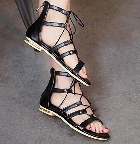SHINIK Sandales Femmes High Gangs Banded Rome Sandales Chaussures plates Pompes Noir Black