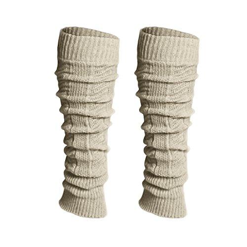 Mianova® 1 Paar Damen Strick Wolle Stulpen Zopfmuster Bein & Armstulpen warm weich - Cremeweiß