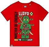 LEGO Ninjago T-Shirt Jungen Grüner Ninja Lloyd (Rot, 104-110)