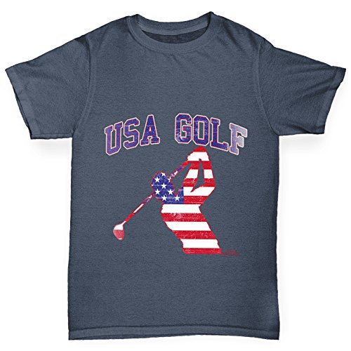 TWISTED ENVY Jungen T-Shirt USA Golf Print Age 12-14 Dunkelgrau (Golf Shirt Distressed)