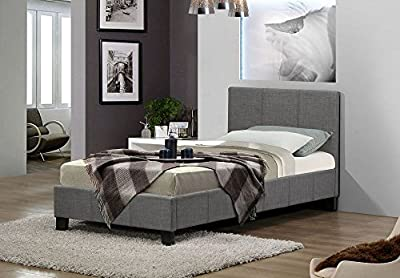 Happy Beds Berlin Fabric Bed Grey Modern Luxury Bedroom Mattresses Comfort - cheap UK light store.