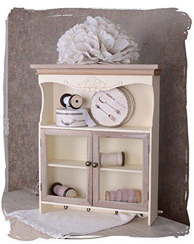 Antikes Regal, Hängeregal, Wandregal, Küchenregal, Küchenvitrine in Villa-Vintage-Art, aus Holz in der Farbe Weiß, einzigartig schönes Möbelstück - Palazzo Exclusive