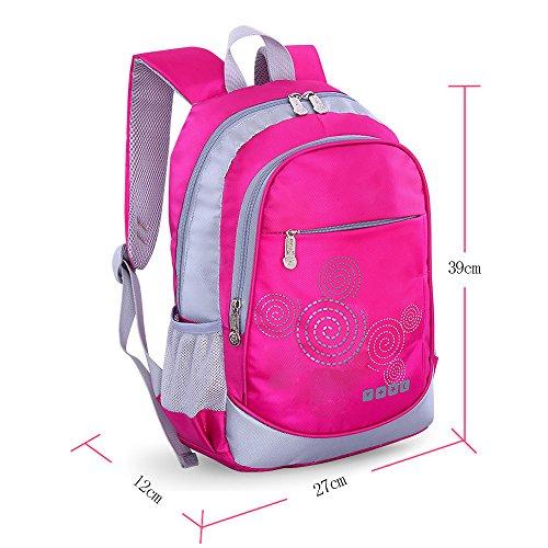 BOZEVON Wasserdichter Rucksack für Kinder Unisex Schultaschen Jungen Mädchen für Reisen, Wandern, Sport Rosek #871