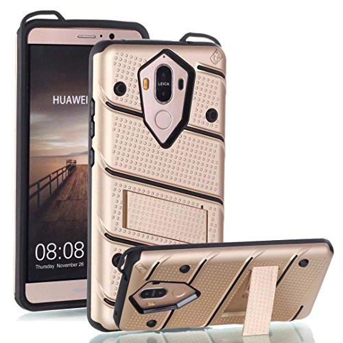 EKINHUI Case Cover Ultra Thin Slim Dual Layer PC + Soft TPU Back Schutzhülle Case [Shockproof] mit Kickstand für Huawei Mate 9 ( Color : Black ) Gold