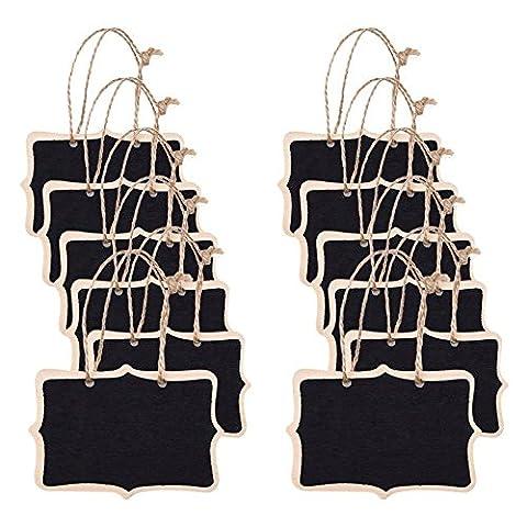 tankerstreet 12Mini Rechteck Kreidetafeln Double Side Schwarz Board aus Holz Label Tags mit hängenden Saite für Nachricht Board Schilder