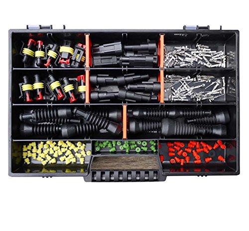 AMP Superseal 2-polig und 3-polig 0,75mm²-1,50mm² Sortimentskasten mit Gummitüllen Stecker Steckverbinder Elektrik KFZ Motorrad LKW QUAD (Motorrad Amp)