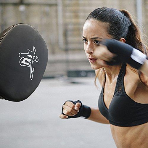 Boxen Pads Punch TARGET Focus Pad Training Stanz Impfstoff Haken Thai Strike Kick Shield hand Ziele 2PU-Leder und Mitt Handschuh für UFC Ergonomische Passform Hände Pads Pad vorgeformte Coaching Kickboxen Paar Kicking Palm Pad Karate für Muay Thai Handschuhe
