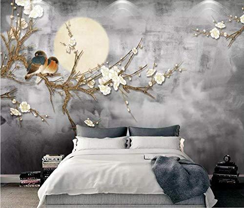GBHL Neue chinesische Handwerker Mode Blumen und Vögel Hintergrund Wand Wohnzimmer Schlafzimmer Tapete Wandbild @ 400x280_cm_ (157.5_by_110.2_in_) _ -