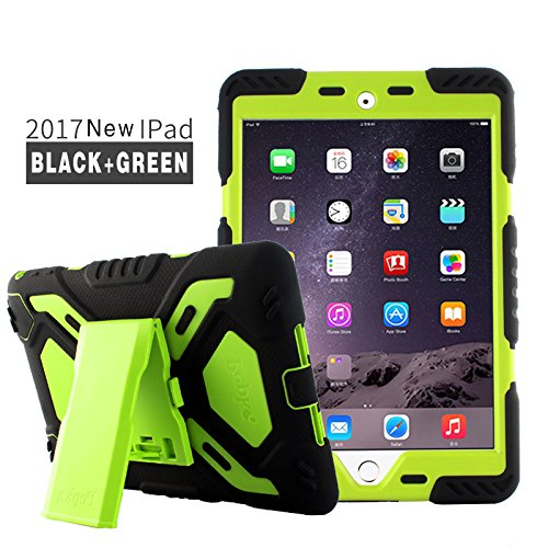Neue iPad 2017 Hüll, Meiya New Wasserdicht Stoßfest Schmutz Schnee Sand Proof Survivor Extreme Army Military Heavy Duty Cover Case Kickstand für neue iPad 2017 Kinder Geschenk neue iPad 2017 Kinder K (Schnee-spiele Kinder Für)