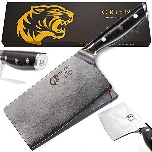 Orient Damast Hackmesser 17,8 cm - Damastmesser Aus Japanischem AUS-10 Edelstahl - 67-Lagiges Professionelles Küchenmesser In Geschenkverpackung mit Klingenschutz