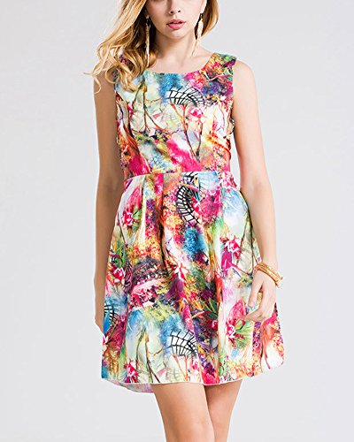 Damen Minikleid Tunika Strandkleid Hohle Kurz Kleider Farbdruck Blumen Farbe