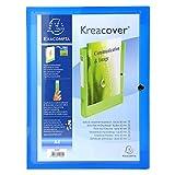 Exacompta 59982E Krea Cover Archivbox (Chromaline, PP 7 mm, Druckknopf-Rücken 40 mm, DIN A4) 1 Stück blau