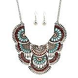 Souarts Damen Vintage Halskette Quaste Metall Halsband mit Ohrring Damenkette Party Abendkleid Antiksilber