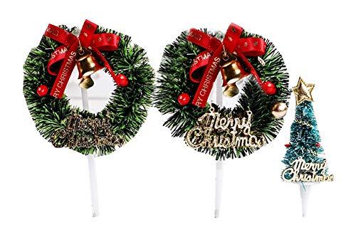 Pack von 3 Weihnachten Cupcake Toppers, Cupcake Dekoration für Zuhause/Party, A2