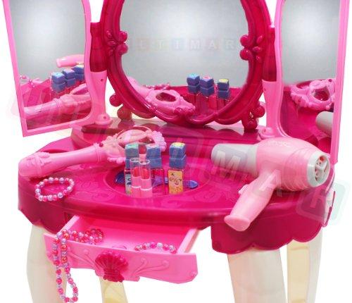Frisiertisch Schminkkommode Schminktisch Schminkstudio Kinderschminktisch Set mit Spiegel und Hocker - 2