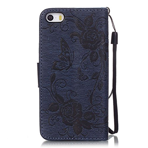 iPhone Case Cover Prägen Schmetterling PU-Leder-Schutzhülle Schmetterlings-Blumen-Schlag-Standplatz-Mappen-Kasten-Abdeckung für iPhone 5 5S SE 6 6S plus ( Color : Blue , Size : Iphone5S SE ) Dark-blue
