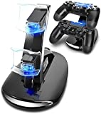 HUACAM PS4 Controller Ladestation Charger, Ladegerät Stand mit USB Kabel für Playstation 4 / PS4 Slim / PS4 Pro Game Controller, Schwarz