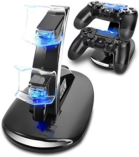 HUACAM PS4 Controller Ladestation Charger, Ladegerät Stand mit USB Kabel für Playstation 4 / PS4 Slim / PS4 Pro Game Controller, Schwarz