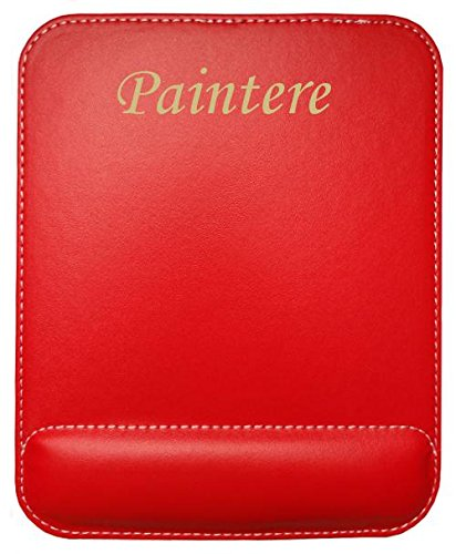 Almohadilla de cuero sintético de ratón personalizado con el texto: Paintere (nombre de pila/apellido/apodo)