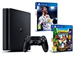 PS4 Slim 1Tb Negra Playstation 4 Consola - Pack 2 Juegos - FIFA 18 + Crash Bandicoot N.Sane Trilogy