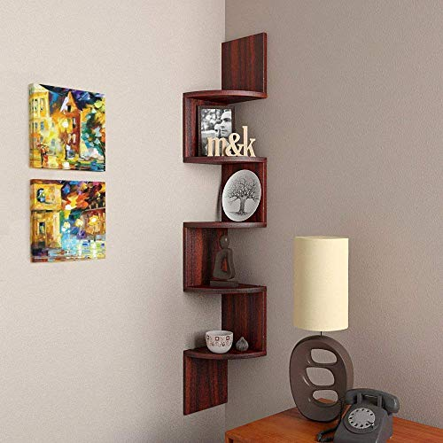 Furniture Cafe Zigzag Corner Wall Mount Shelf Unit/Racks and Shelves/Wall Shelf/Book Shelf/Wall Decoration (Matt Finish, Mahogany)