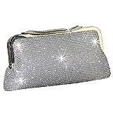 Luxus glitzer Damen Tasche Clutch Damentasche Abendtasche Party Hochzeit Handtasche Brauttasche mit Strass Satin (Silber)