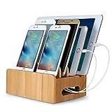 Universell Kabel Organizer (aus Bambus) Ständer mehrfachen Geräte Desktop Ladestation Halter mit mehrfachen eingebauten Anschlüssen für Smartphorne Tablets und Laptops