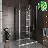 Duschkabine Eckeinstieg Dusche inkl. Nano Duschwand Duschabtrennung Wannenmaß 120x90x195 Ecke