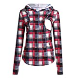 Sonnena Frauen Mutter schwangeres Krankenpflege Baby Mutterschaft Plaid Hoodie übersteigt Blusen Kleidung Maternity Hooded Pullover Nursing Top Pregnant Breastfeeding Fashion Blouse