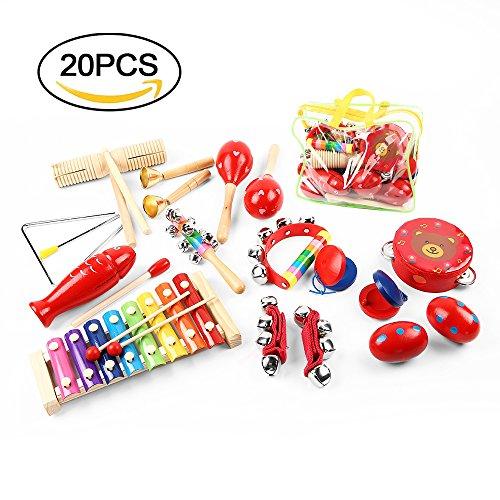 Schlagzeug-Set, Baby Pig 20 PCS hölzerne Musikinstrumente stellten Perkussions-Spielzeug-Rhythmus-Band-Satz, Vorschulbildungs-Werkzeuge für Kleinkind-Baby-Spiel-Tamburin-Satz, Perkussions-Percussion-Starter-Ausrüstung, Baby-Spielzeug-Geschenk, mit einer Handtasche ein