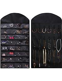 Ezigoo Amplio Organizador de Joyas Colgante de Doble Cara Negro armario para joyas– Soporte para anillos y pendientes, árbol de joyas. ¡Todo en uno!