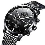Uhr,Herrenuhren,Edelstahl-schwarze klassische Luxuxgeschäft-beiläufige Uhren mit Kalender-wasserdichte Multifunktions-Quarz-Milanese-Ineinander greifen-Band-Armbanduhr für Mens