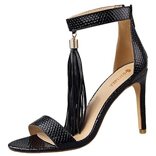 Oasap Women's Peep Toe High Heels Fringe Sandals Black