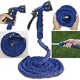 50m extensible Pistolet vaporisateur Tuyau d'arrosage flexible d'arrosage jardin Buse tuyau d'arrosage extensible 3fois Lavage de Voiture 50pieds bleu