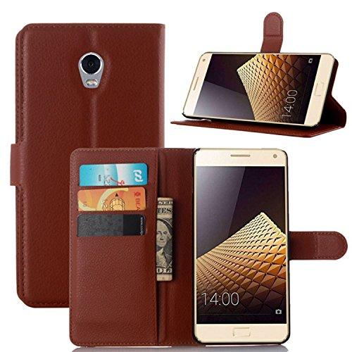 Tasche für Lenovo Vibe P1 Hülle, Ycloud PU Ledertasche Flip Cover Wallet Case Handyhülle mit Stand Function Credit Card Slots Bookstyle Purse Design braun
