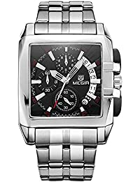 Fashion Mans Business correa de acero inoxidable resistente al agua analógico negro Dial cuarzo reloj con calendario 2018bk