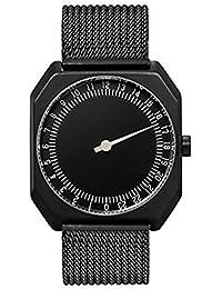 Slow Jo 22 - Tous les en maille Noir Unisexe Montre à quartz avec affichage analogique et bracelet en acier inoxydable plaqué noir cadran noir