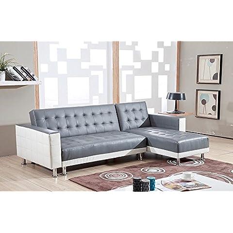 Bestmobilier NEW YORK-divano convertibile ad angolo, reversibile, 235 x 153 x 77 cm, colore: bianco/grigio