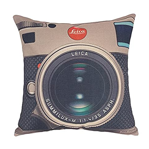 Coolsummer 3D printing various types of Vintage Camera Pattern Cotton Linen Square Decorative Fashion Throw pillow cover -18 X 18 Inch (3) by Coolsummer